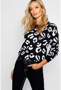 Black Leopard Knitted Sweater