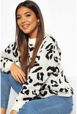 Cream white Leopard Knitted Sweater