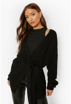Black Belted Oversized Boyfriend Cardigan