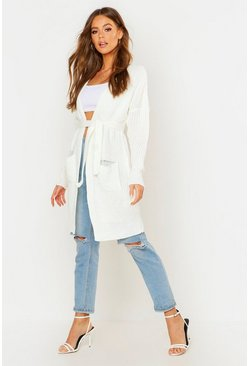 Cream white Belted Oversized Boyfriend Cardigan