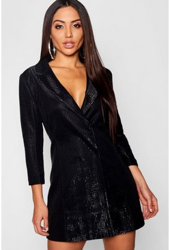 Black Metallic Blazer Dress