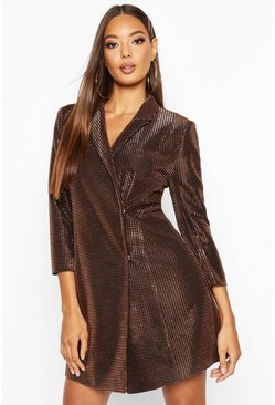 Gold metallic Metallic Blazer Dress