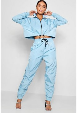 Blue High Waist Shell Suit Track Pant