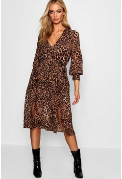 Black Wrap Front Leopard Print Midi Dress