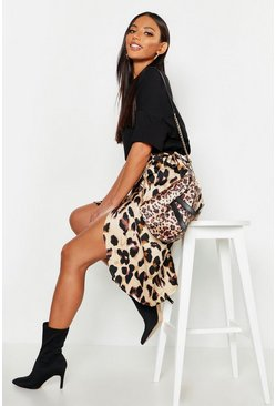 Tan brown Leopard Print Satin Wrap Midi Skirt