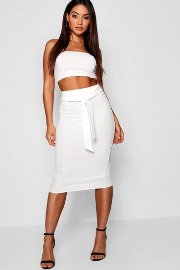Ivory white Bandeau Tie Detail Midi Skirt Co-Ord Set