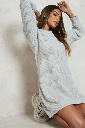 Silver Crew Neck Jumper Dress