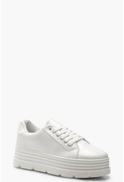 White Cleated Platform Trainers