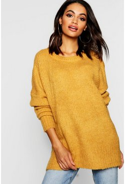 Mustard yellow Oversized Rib Knit Boyfriend Jumper