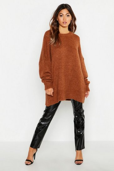 Terracotta orange Oversized Rib Knit Boyfriend Jumper