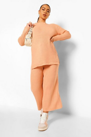 Biscuit beige Premium Knitted Rib Turtle Neck Set
