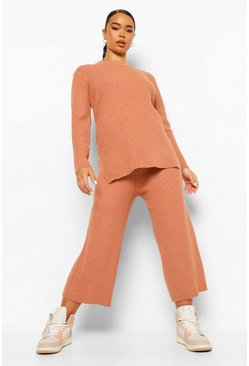 Camel Premium Knitted Rib Turtle Neck Set