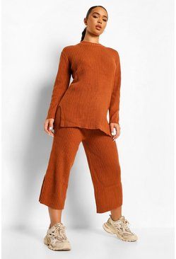 Tobacco brown Premium Knitted Rib Turtle Neck Set