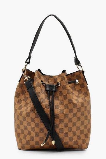 Brown Check Duffle Bucket Bag