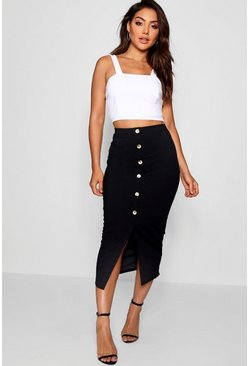 Black Ribbed Mock Horn Button Through Midi Skirt