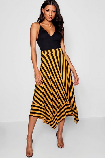 Mustard yellow Contrast Stripe Full Midi Skirt