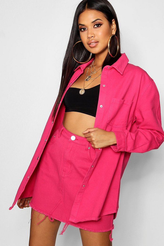 Hot Pink Denim Shirt Boohoo