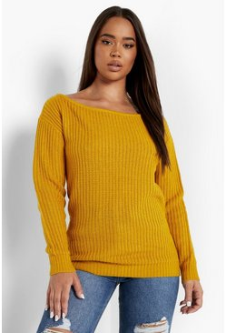 Mustard yellow Slash Neck Fisherman Jumper