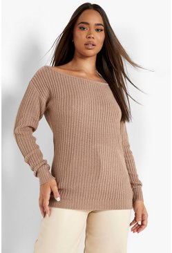 Taupe beige Slash Neck Fisherman Jumper