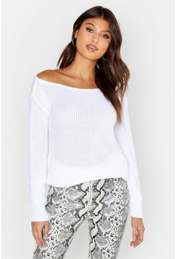 White Slash Neck Fisherman Sweater