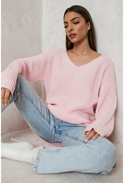 Baby pink Oversized V Neck Jumper
