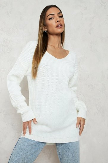 Cream white Oversized V Neck Jumper