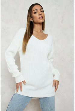 Cream white Oversized V Neck Sweater