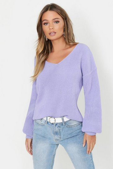Lilac Oversized V Neck Jumper
