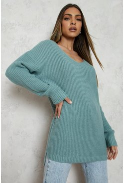 Sage green Oversized V Neck Jumper