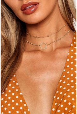 Gold metallic Circle And Chain Choker Pack