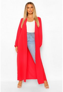 Red Maxi Woven Belted Kimono