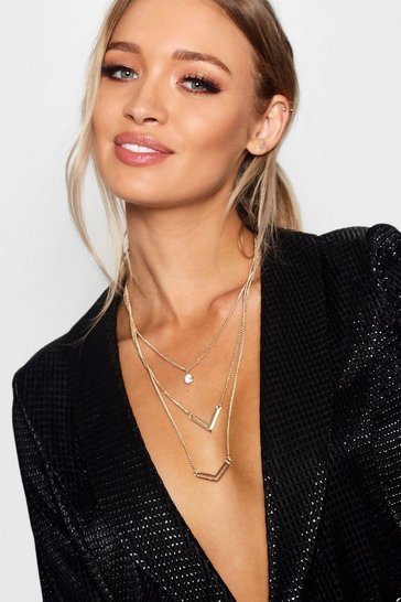 Gold Double Arrow Layered Necklace