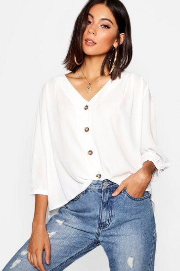 Ivory white White Horn Button Through Blouse