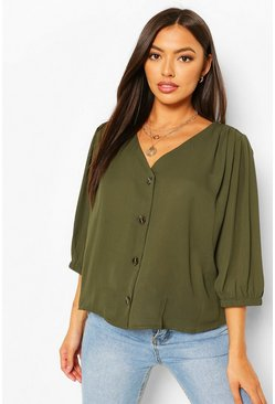 Military green Horn Button Through Blouse