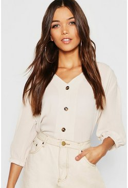 Stone beige Horn Button Through Blouse