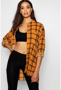 Mustard yellow Grandad Collar Oversized Check Shirt