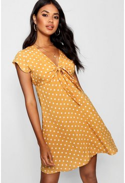 Mustard yellow Woven Polka Dot Tie Detail Skater Dress