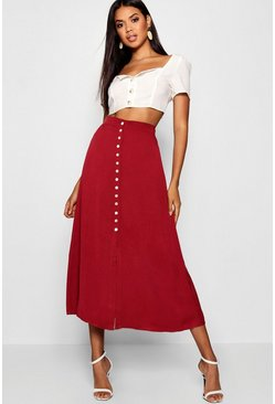 Berry red Small Button Detail Midi Skirt