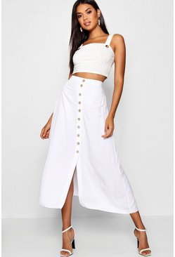 White Mock Horn Button Through Midi Skirt