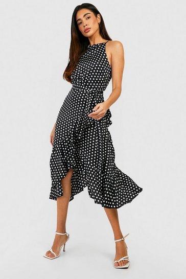Black Satin Polka Dot Frill Detail Midi Dress