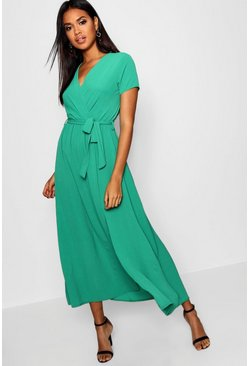 Green Wrap Maxi Dress