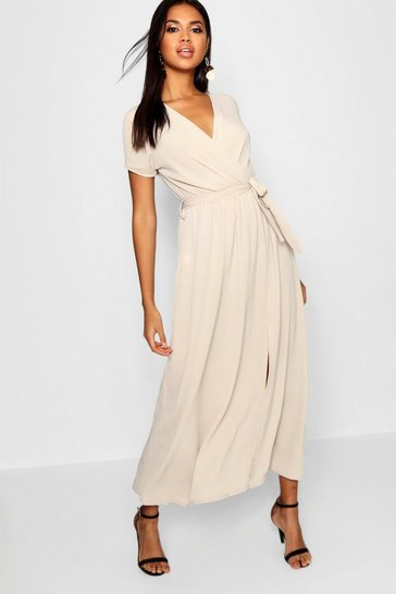 Stone beige Wrap Maxi Dress