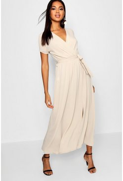 Stone beige Wrap Maxi Dress
