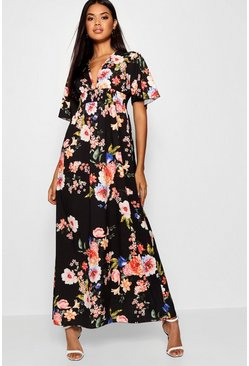 Black Cap Sleeve Shirred Waist Floral Maxi Dress