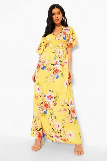 Mustard yellow Cap Sleeve Shirred Waist Floral Maxi Dress