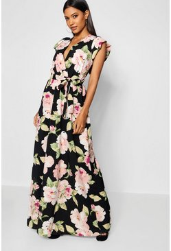 Black Premium Rose Print Wrap Maxi Dress