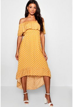 Mustard yellow Woven Polka Dot Print Off The Shoulder Maxi Dress