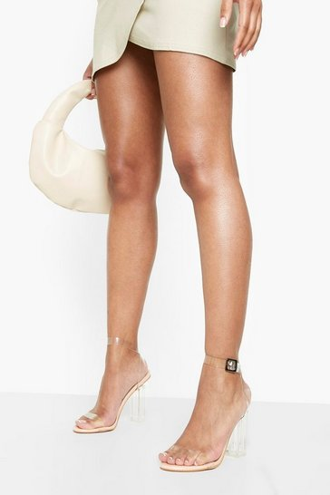 Nude Clear Block Barely There Heels