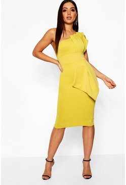 Chartreuse yellow One Shoulder Pleated Detail Midi Dress