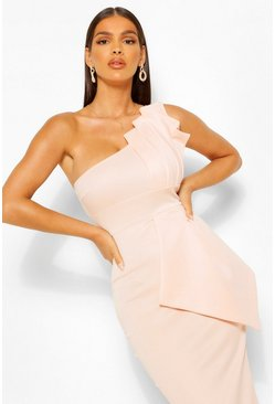 Pink One Shoulder Pleated Detail Midi Dress